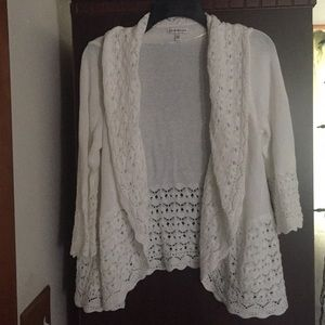 Croft & Barrow Crocheted Open Sweater Cardigan L